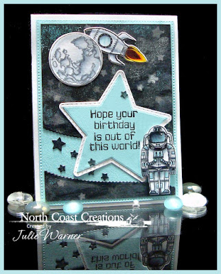 North Coast Creations Stamp Set:Rocket Man, North Coast Creations Custom Dies: Space Man, Our Daily Bread Designs Custom Dies: Pierced Rectangles, Leafy Edged Borders, Sparkling Stars, Double Stitched Stars