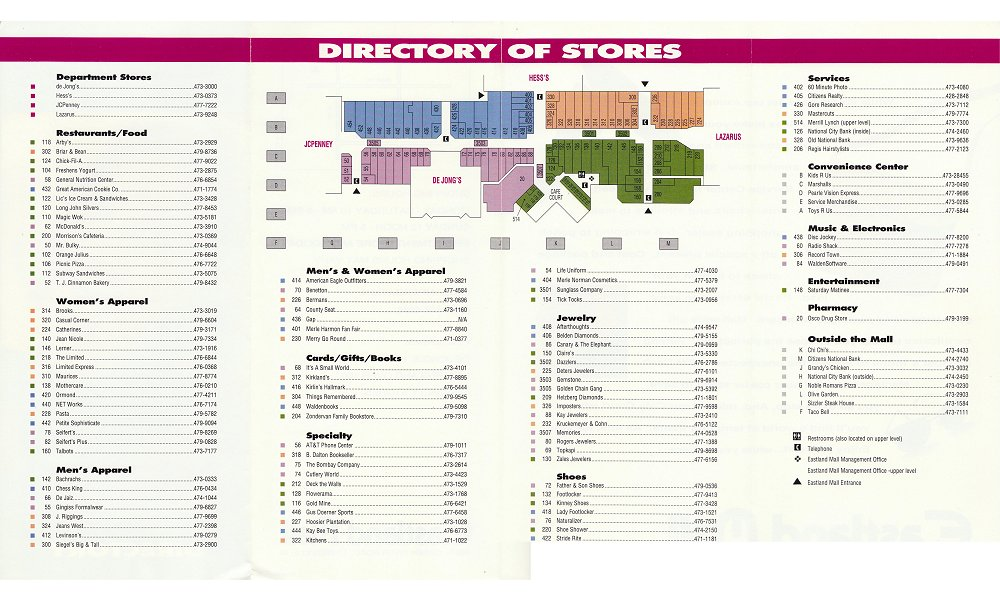 White Marsh Mall Map The Mallmanac: Extant Assets   Eastland Mall, Evansville, IN White Marsh Mall Map