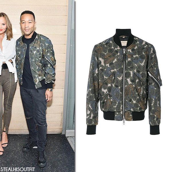 John Legend in green printed Burberry bomber jacket mens celebrity style