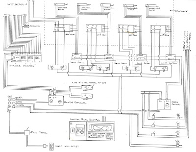Original wiring diagram sketch for control panel and layout wiring