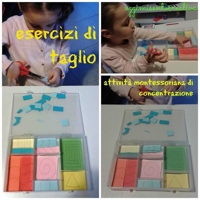 Attività Montessori di concentrazione: imparare a tagliare con una scatola contenete carta colorata
