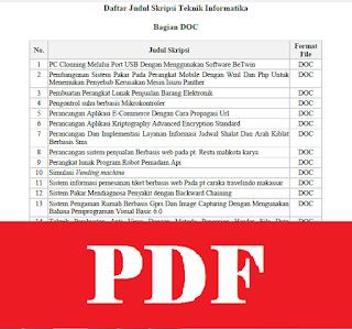 Daftar Judul Skripsi Teknik Informatika Arsip Org