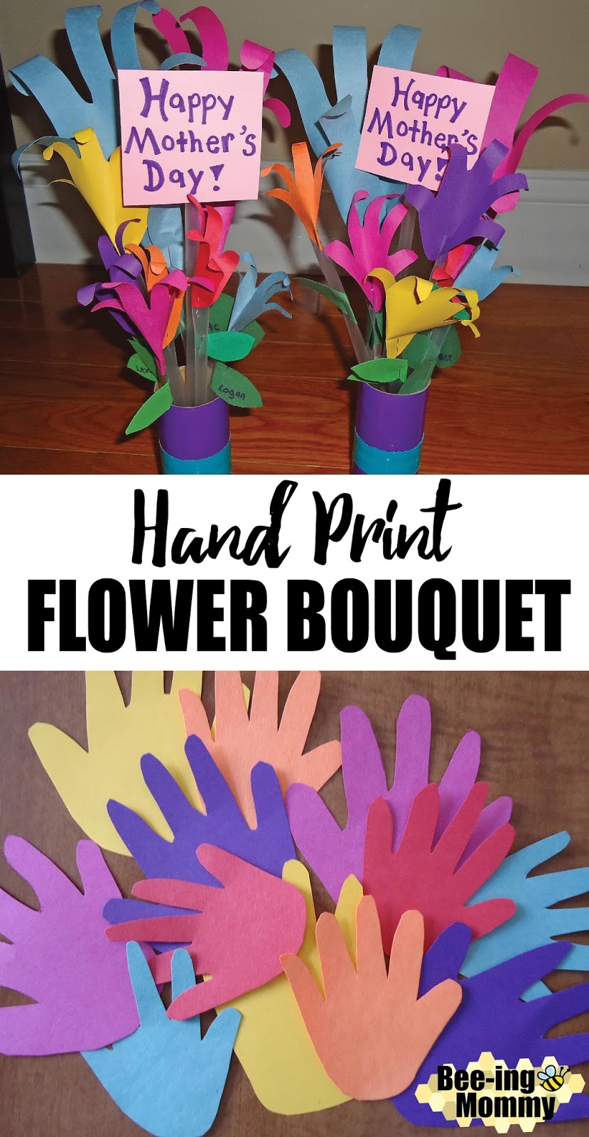 Bee ing mommy blog hand print flower bouquet mothers day gift mothers day hand print flower bouquet flower bouquet diy izmirmasajfo