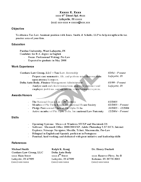 purdue owl resume sample