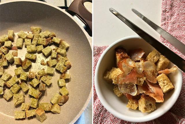 crema di topinambur e patate con guanciale e crostini croccanti