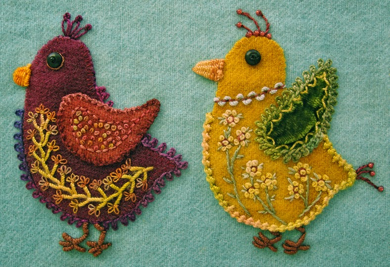 Beadlust wool applique chicks with emerging personalities