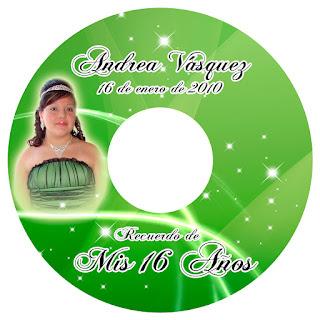 Portada de CD para recuerdo de 15 años novedoso en verde y plateado para foto y video