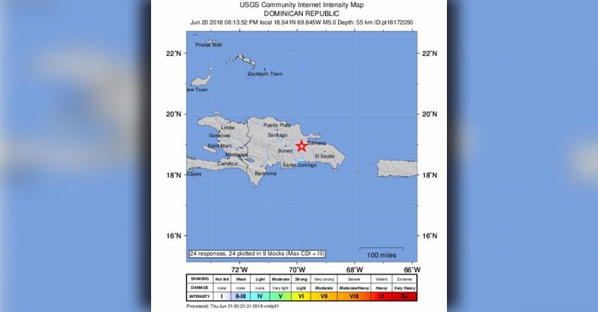 TERREMOTO EN REPÚBLICA DOMINICANA de Magnitud 5.0 (Hoy Miércoles 20 Junio 2018) Sismo Temblor EPICENTRO en Sabana Grande de Boya - Santo Domingo - Santiago - En Vivo Twitter - Facebook - USGS