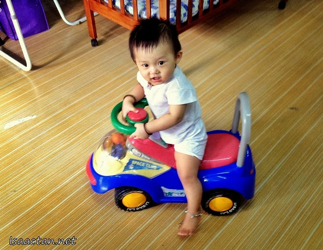 "Baby Martin Driving His ""New"" Toy Car"