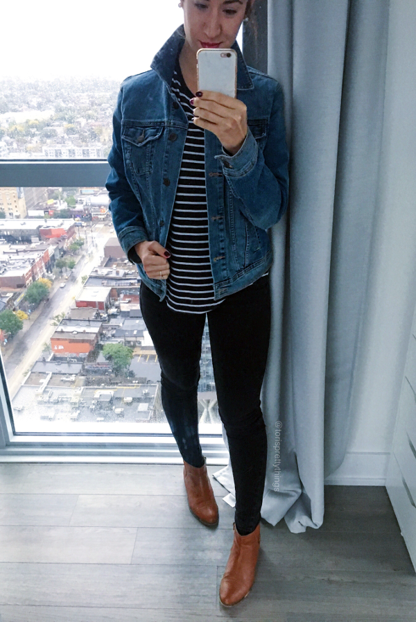 Everyday Fall Jean Jacket look, Striped Tee, Jean Jacket, Jeggings, Cognac Booties Outfit  - Tori's Pretty Things Blog