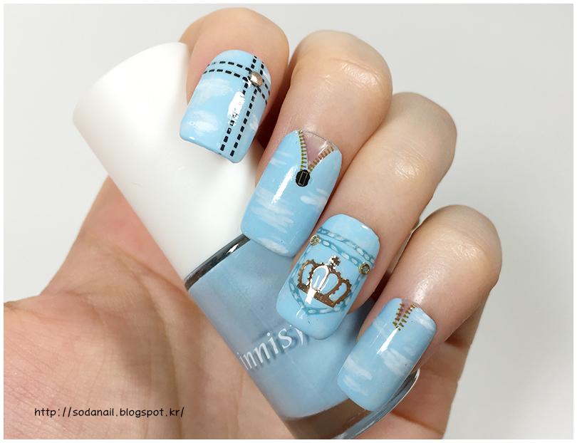 Sodanail Denim Nails Ice Blue Ripped Jean Nail Art Design For Summer