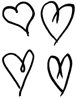 collage sheet heart hand drawn printable download clipart artwork