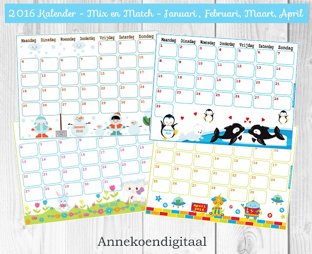kalender 2016, 2016 zelf printen, kalender voor kinderen, pinguïn kalender, 2016 kalender, kalender printable, 2016, tuxx 2016