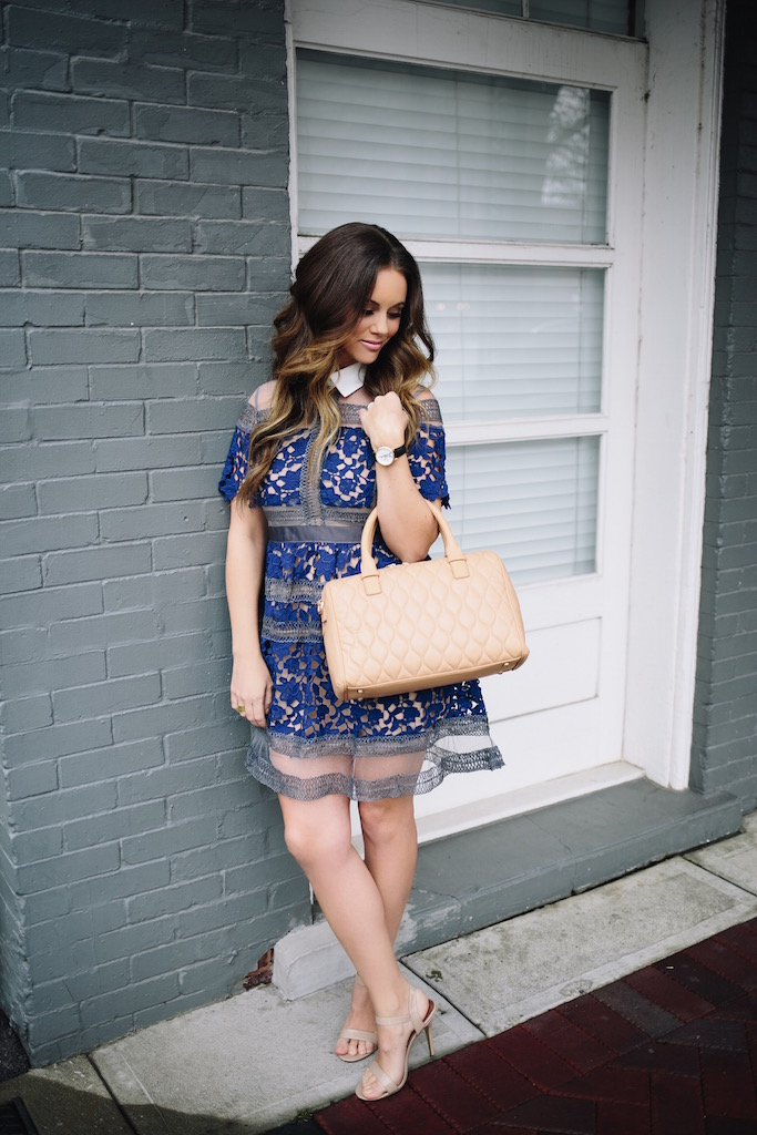 KBStyled: Sheer Mesh Lace Dress Lace Dress Shein Vera Bradley