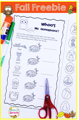 Hoot Owl Homophones Freebie - Interactive Fall vocabulary activity www.speechsproutstherapy.com