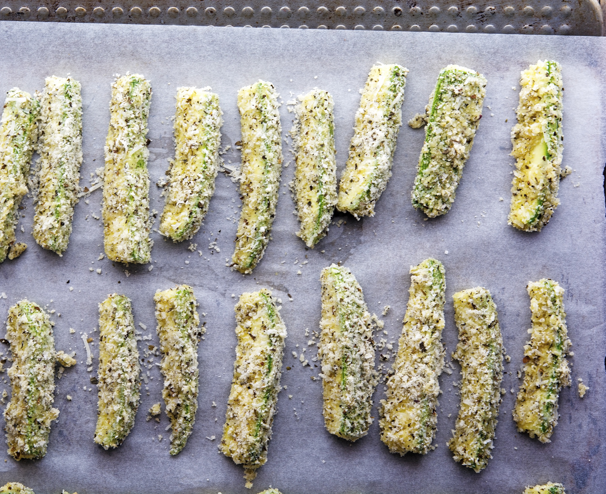 Making Parmesan Crusted Baked Zucchini Fries