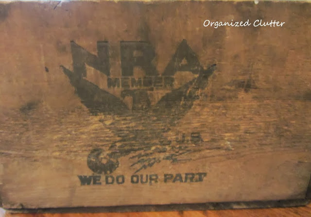 National Recovery Act Crate http://organizedclutterqueen.blogspot.com/2013/10/thrifting-and-antique-shopping.html