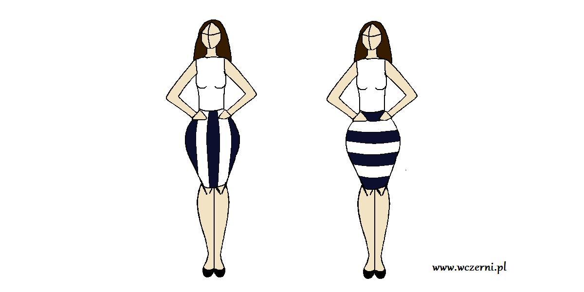 szerokie biodra wyszczuplone za pomocą odpowiednio dobranego wzoru spódnicy