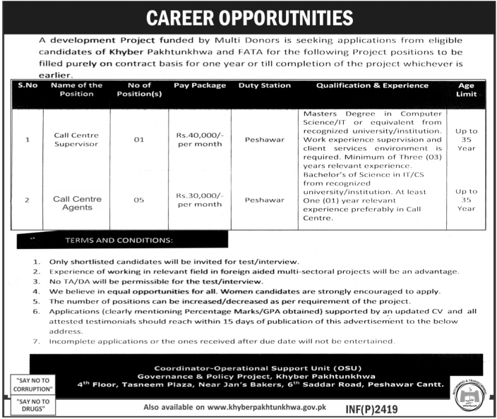 Call Center Jobs In Development Project Kpk Peshawar 20 May 2017
