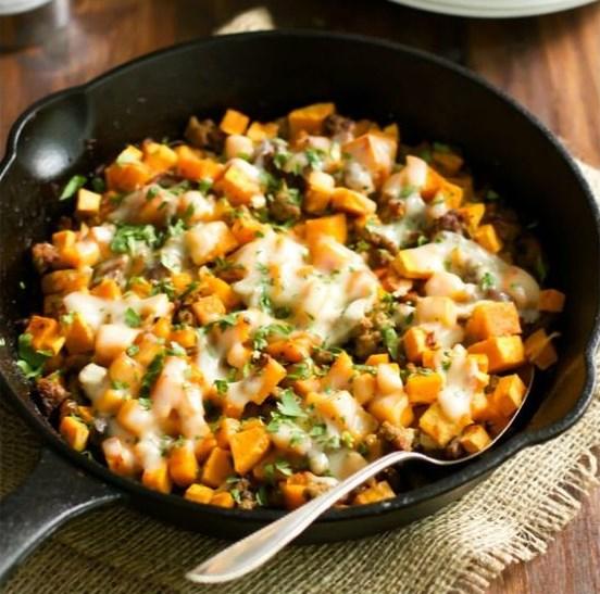 Ground Turkey Sweet Potato Skillet Recipe #Skillet #Healthy
