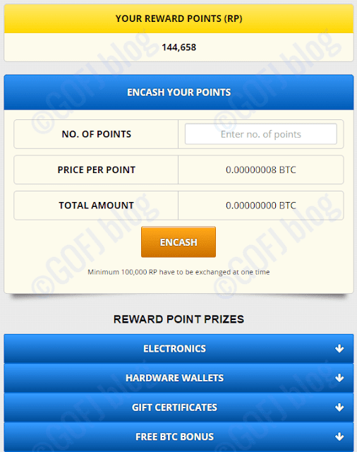 Free bitcoin reward points