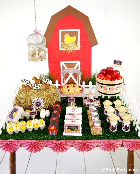 Farm and Barnyard Birthday Party Desserts Table - BirdsParty.com