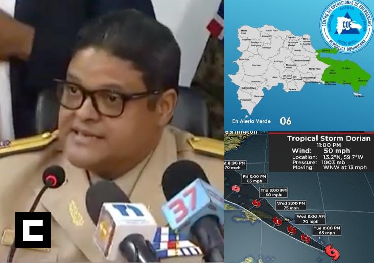 "Video: COE emite alerta verde en seis provincias por ""Dorian"""
