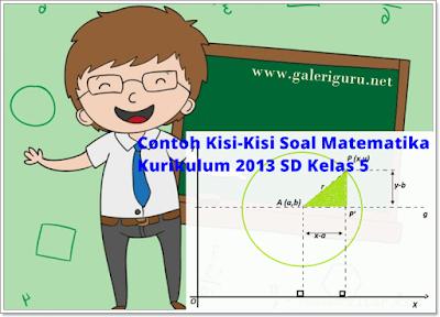 Contoh Kisi-Kisi Soal Matematika Kurikulum 2013 SD Kelas 5 (Galeri Guru)