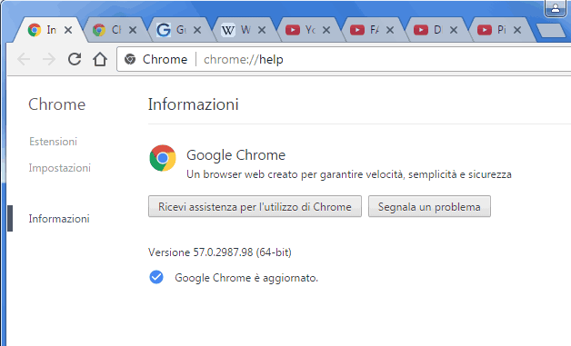Google Chrome 57 pagina informazioni su Chrome