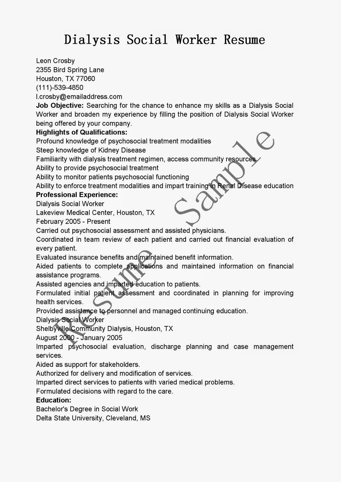 dialysis social worker sample resume tv production manager cover dialysis social worker resume dialysis social worker