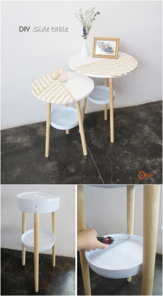 Upcycled%2BBucket%2BSide%2BTables 15 DIY Genius Project Ideas For Repurposing Old Gallon Buckets Interior
