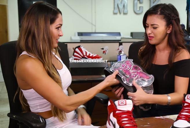 7422cf9c86 ... shop wwe diva champ nikki bella talks sneakers with a sneak peek of her  custom jordan