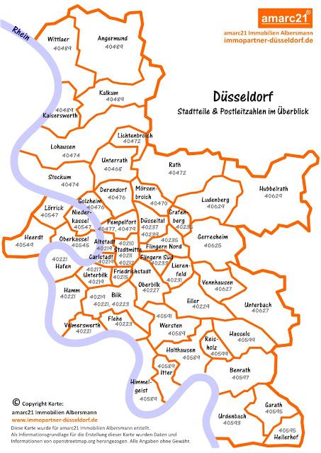 Düsseldorf Karte.Düsseldorf Und Umgebung In Bildern Düsseldorf Stadtteil übersicht