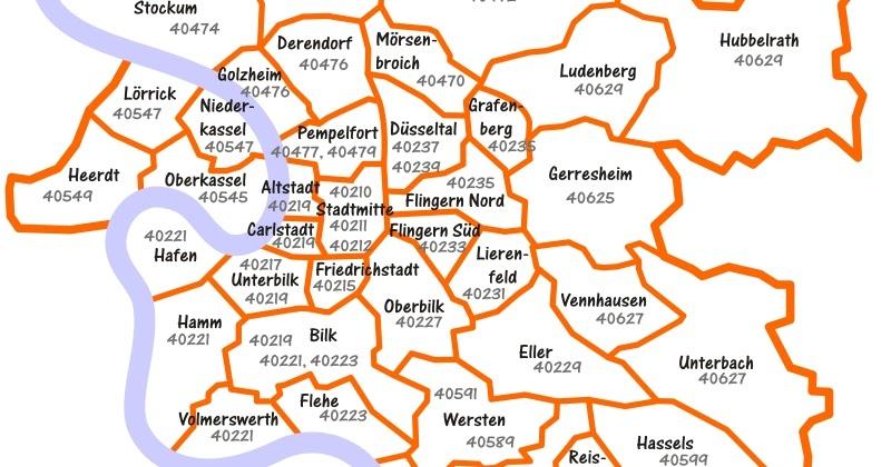 postleitzahlen düsseldorf karte Düsseldorf und Umgebung in Bildern: Düsseldorf: Stadtteil