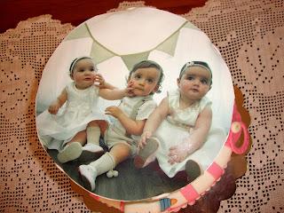 Foto superior tarta triple bautizo