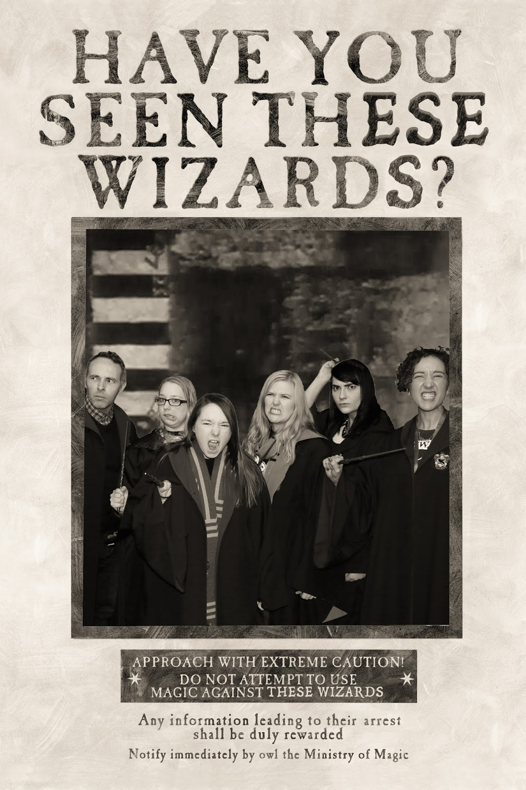 Wanted wizards poster at Hogwarts in the Snow at Warner Brothers Studio Tour, London