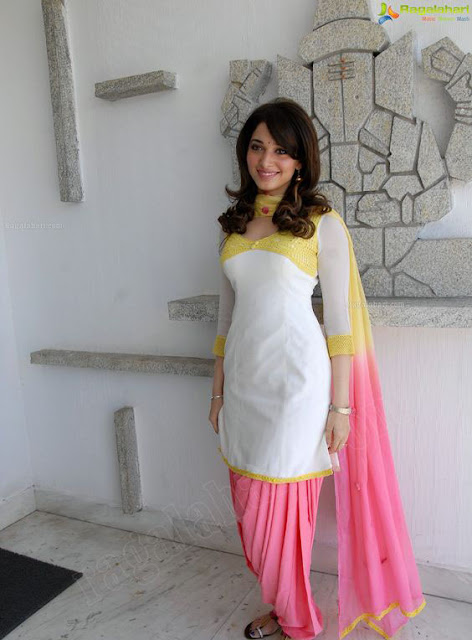 Tamannaah Bhatia in White and Pink Patiala Salwar