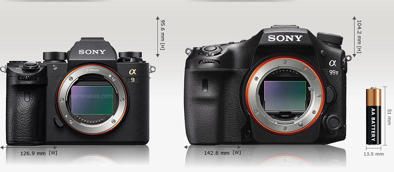Сравнение габаритов Sony A9 и Sony A99 II