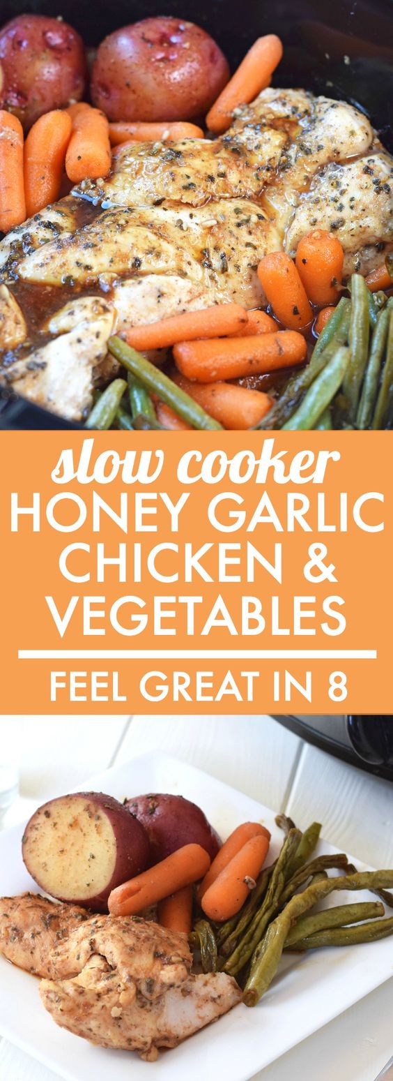 SLOW COOKER HONEY GARLIC CHICKEN AND VEGETABLES #slowcooker #honey #garlic #chicken #chickenrecipes #vegetables #healthyfood #healthydinnerrecipes #healthydinnerideas #healthyrecipes