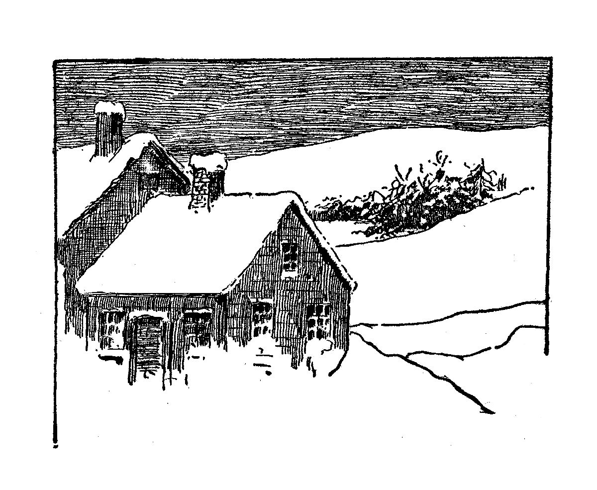Snow Winter Cottage Country Illustration Download