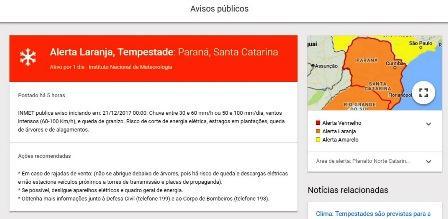 Verão começa com alerta de tempestade e ventos de 100 km/h no Paraná