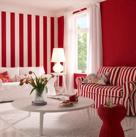 diseño de sala rojo y blanco