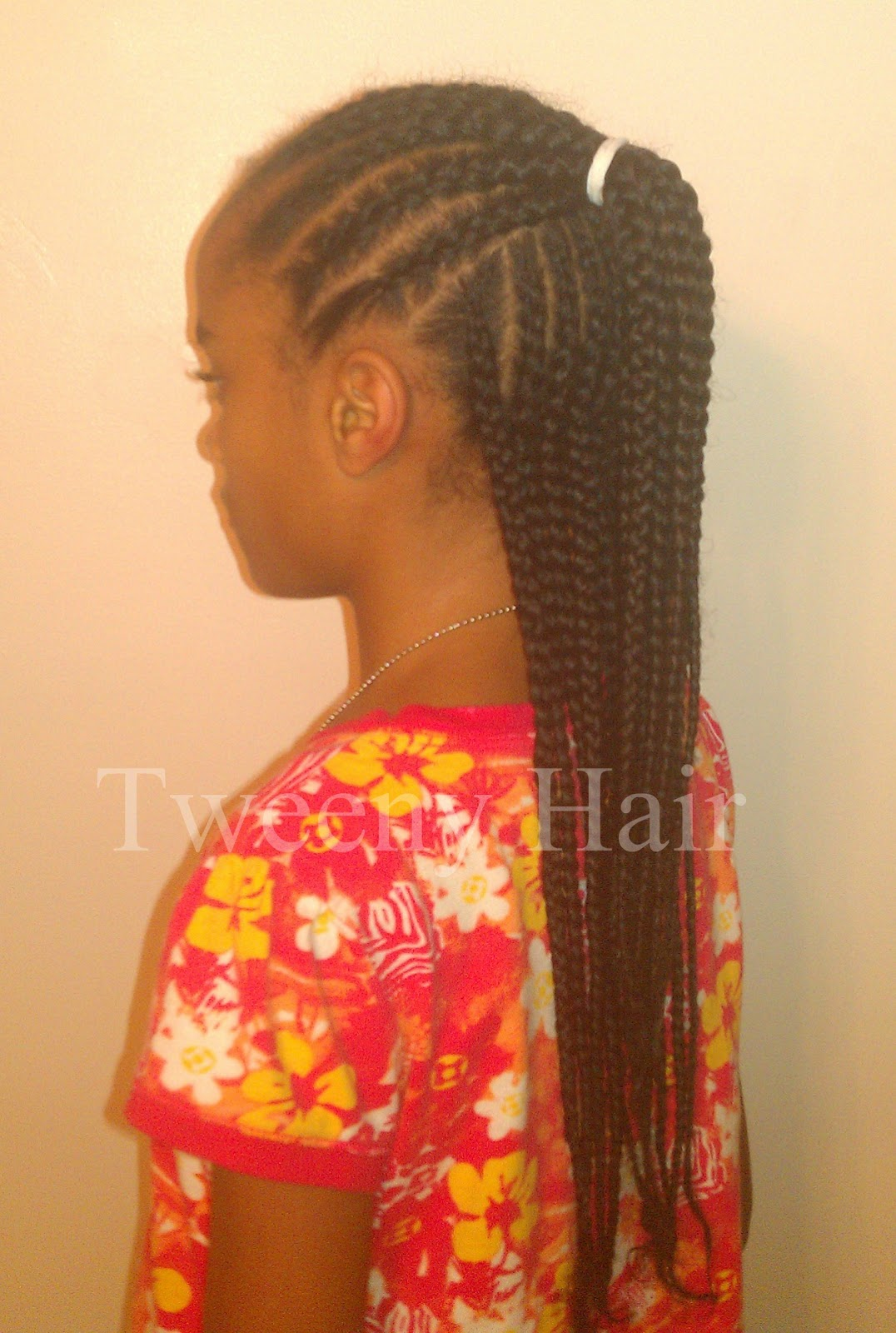 Tweeny Hair Simple Cornrow Style Half Up