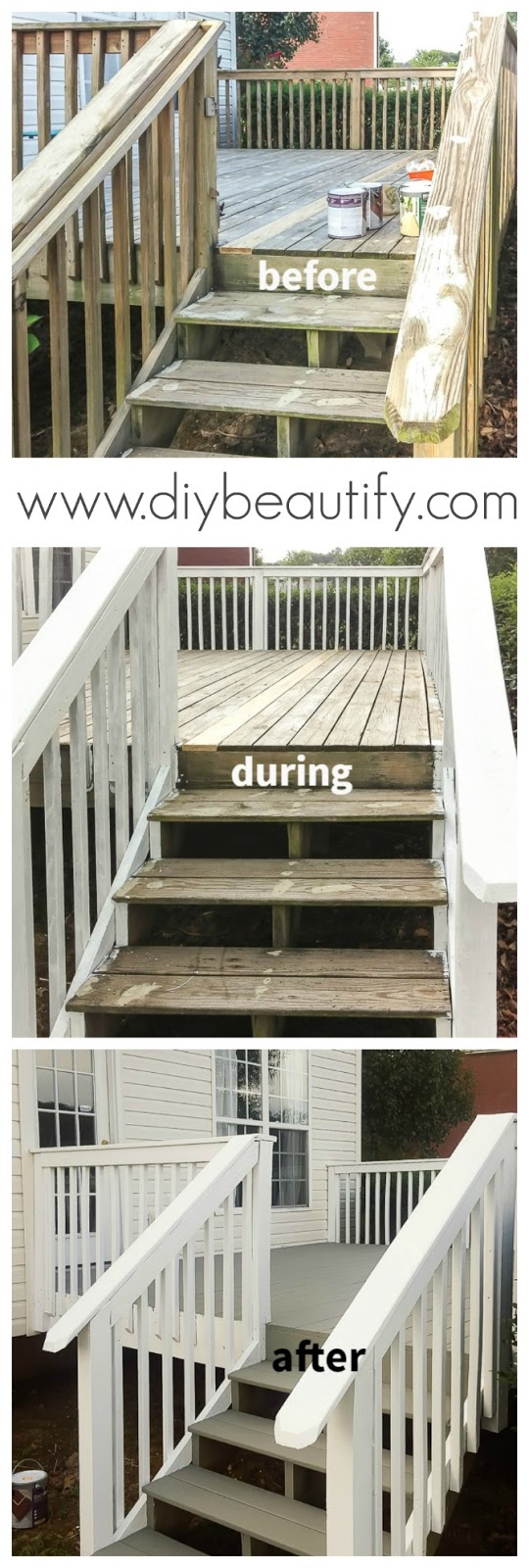 gray and white painted deck