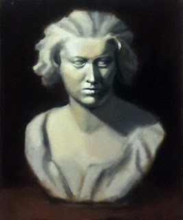 Oil painting of the bust of a young woman.