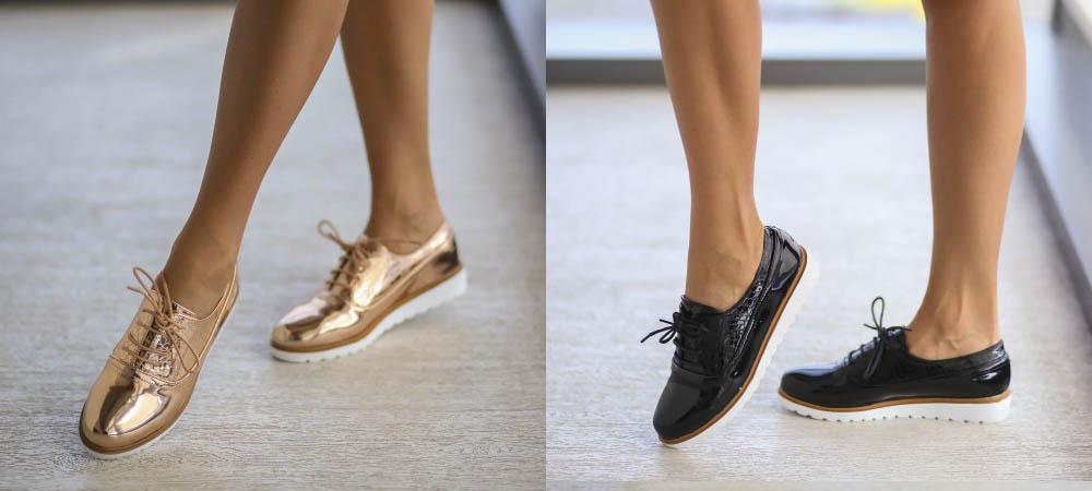 Pantofi casual dama negri, aurii piele lacuita ieftini primavara 2017