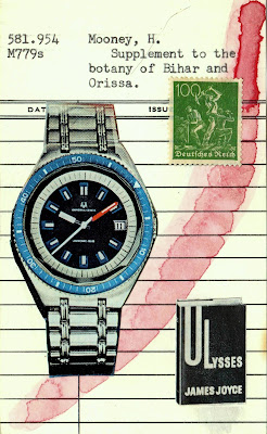Freud psychology wristwatch postage stamp hard labor Ulysses James Joyce Library card dada Fluxus mail art collage