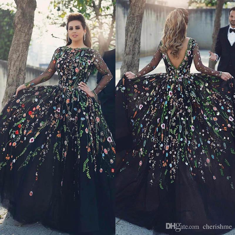 2017 Real Fabric Show Jewel Collar Long Sleeves Custom Made Ball ...