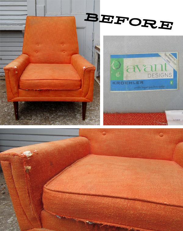 Reupholstered Kroehler Lounge Chair & Remnant: Reupholstered: Kroehler Lounge Chair