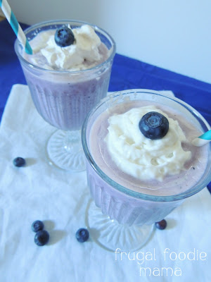 These frosty Blueberries & Cream Daiquiris are bursting with fresh blueberry flavor... a perfect cocktail for summertime!